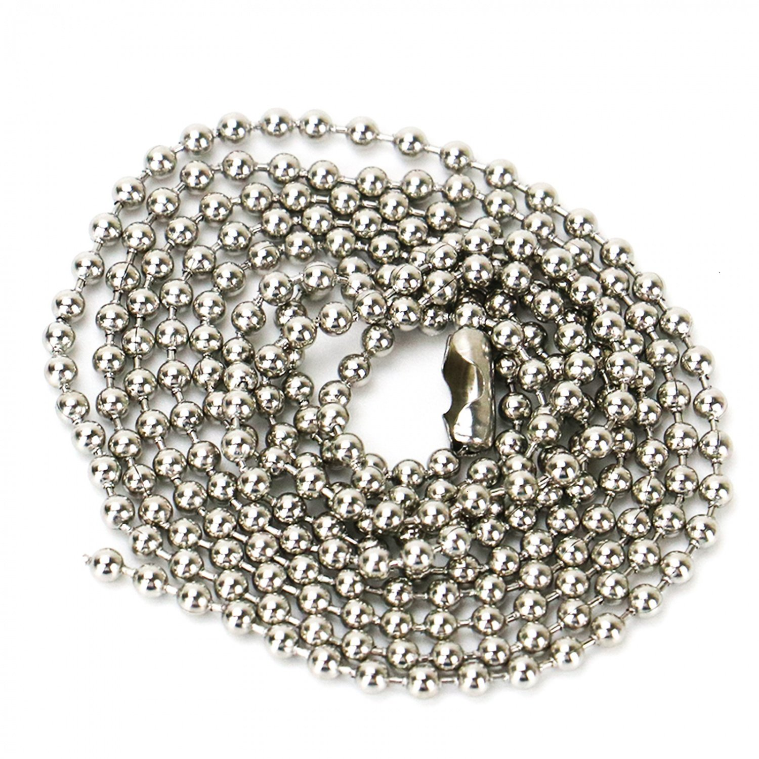 HUELE 5 Pcs Stainless Steel Ball Chains Beaded Necklaces Connectors ID Badge Chain 3 Ft