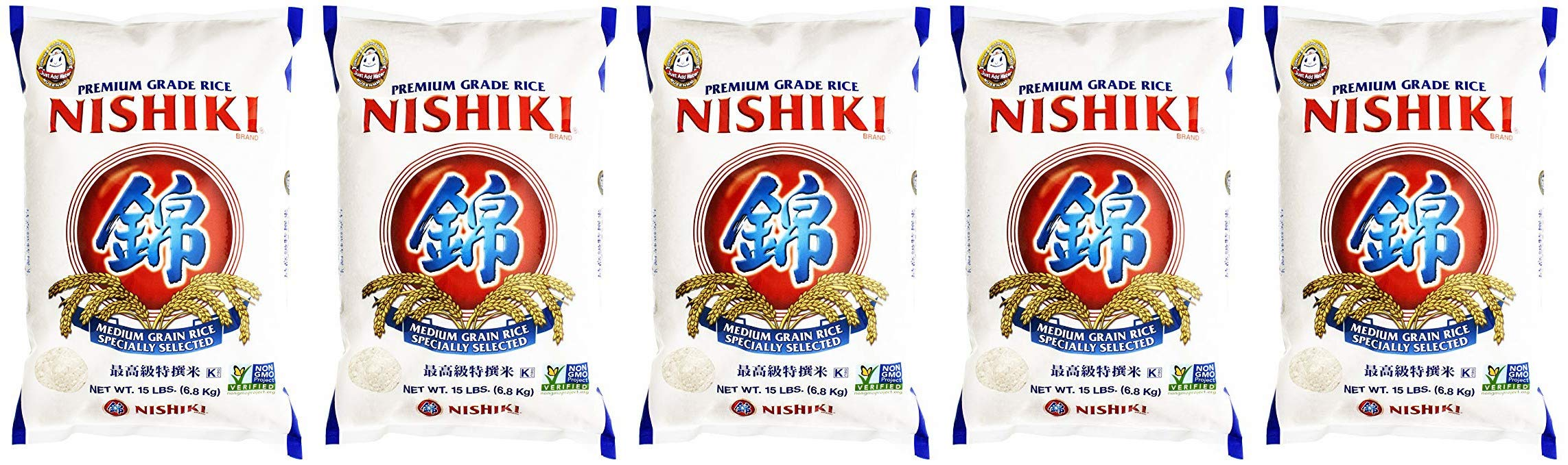 Nishiki Premium Rice, Medium Grain, 240 Oz, 5 Pack