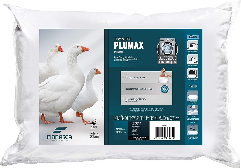 Travesseiro Integralmente Lavável, Plumax , Revestimento Algodão Percal, 50X70 cm, Branco, Fibrasca por Fibrasca