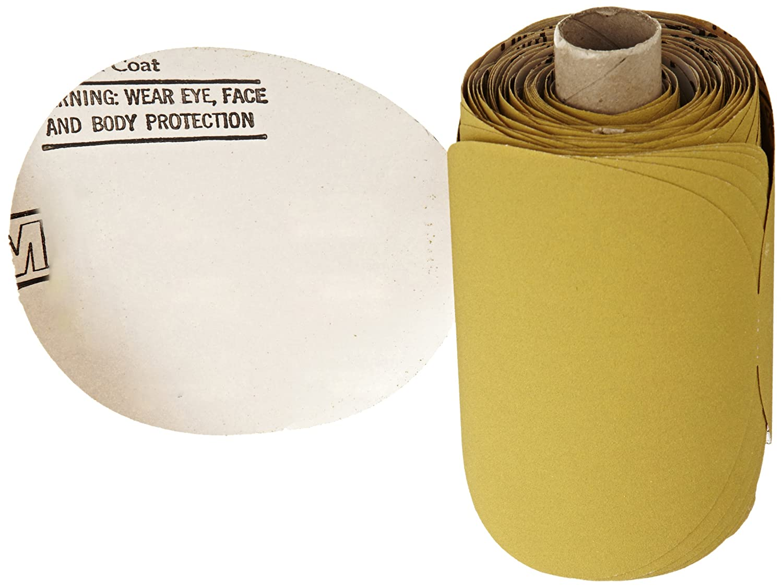 Roll of 125 P150 Grit Aluminum Oxide 3M Stikit Gold Film Disc Roll 255L 5 Diameter 5 Diameter Gold