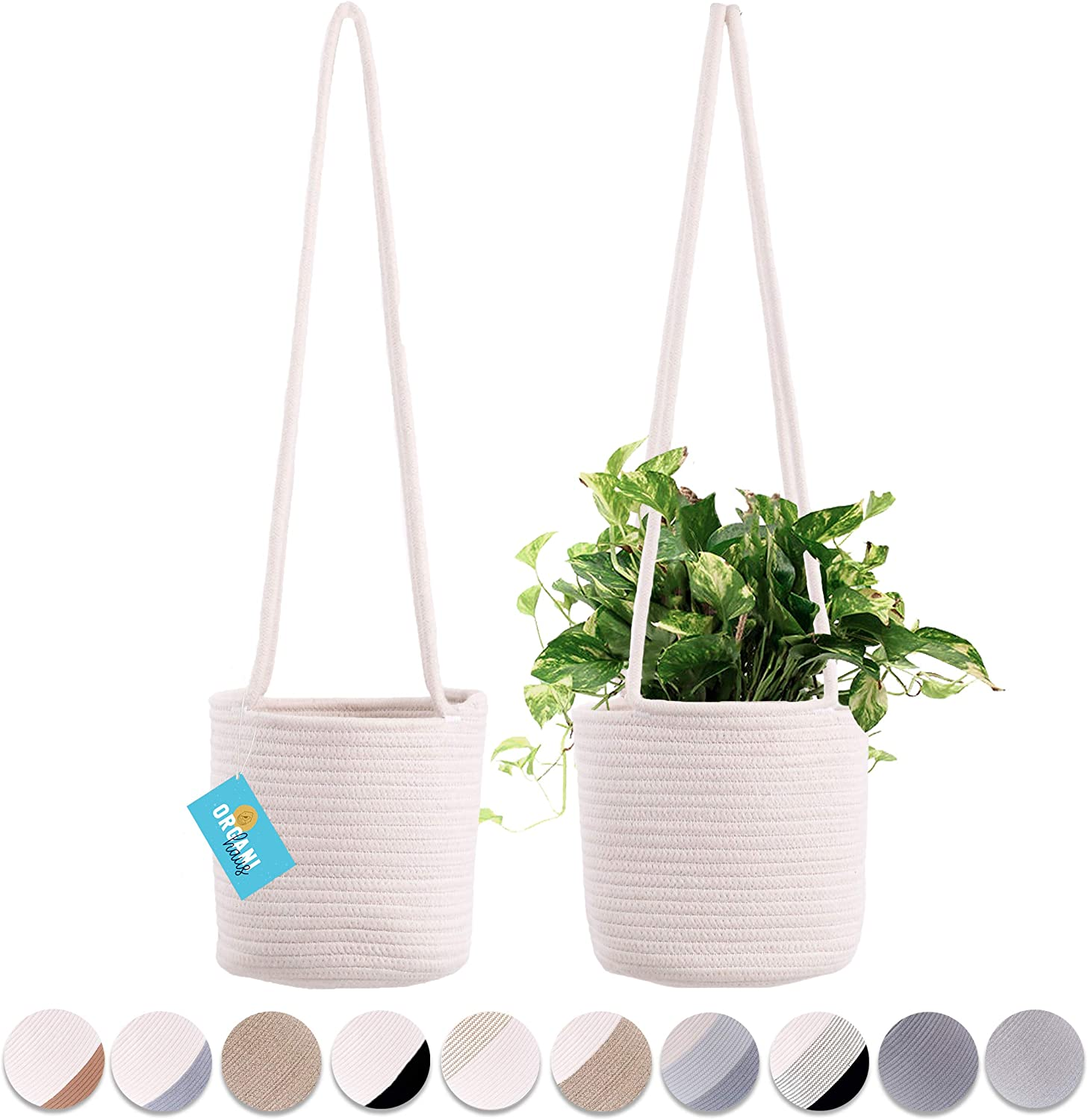 """Shop Set of 2 Hanging Rope Planter Baskets 8""""x8"""" with Long Hanging Rope from Amazon on Openhaus"""