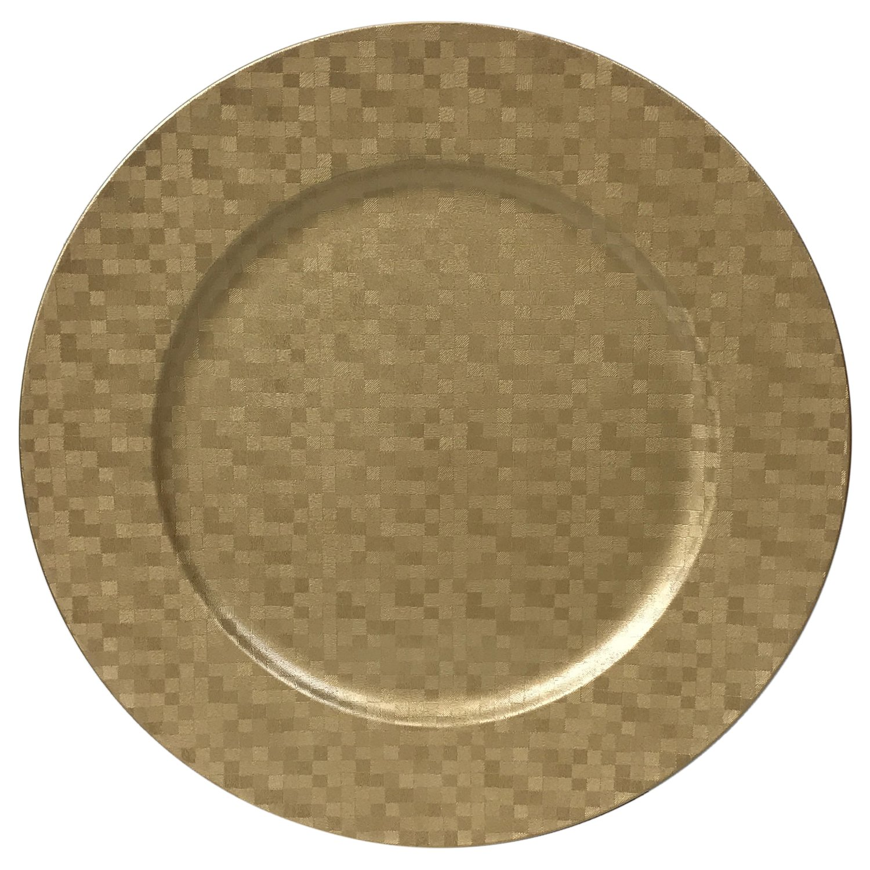Charger Plates Shimmering Metallic Squares Design, Set of 4 (Gold)