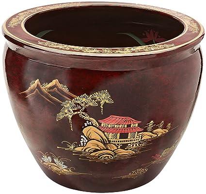 "Japonés Chino Asia Oriental estilo – 16 ""Ming Jiangxi lacado porcelana jardinera pecera Planter"