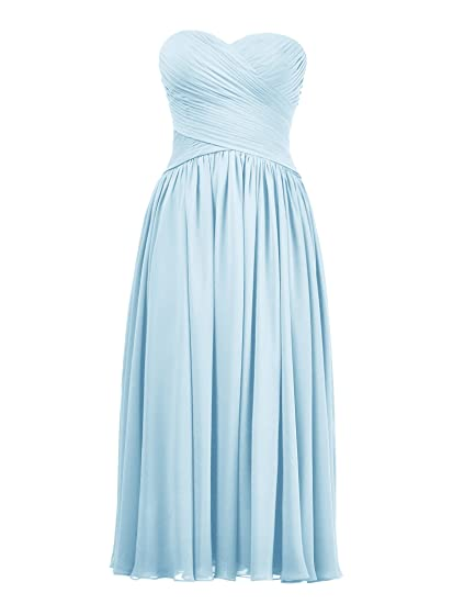 AWEI Bridal Formal Tea Length Bridesmaid Dress For Women 2017 Strapless Chiffon Prom Dresses, Baby