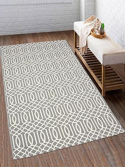 Saral Home Cotton Multi Purpose Handloom Rugs-(90x150 cm, Grey)