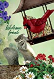 JoyPlus Welcome Cardinal Bird & Squirrel Garden Flag - Vertical Double Sided Spring Summer Cute Decorative Rustic/Farm House Small Decor Flags Set for Indoor & Outdoor Decoration, 12 X 18 inch