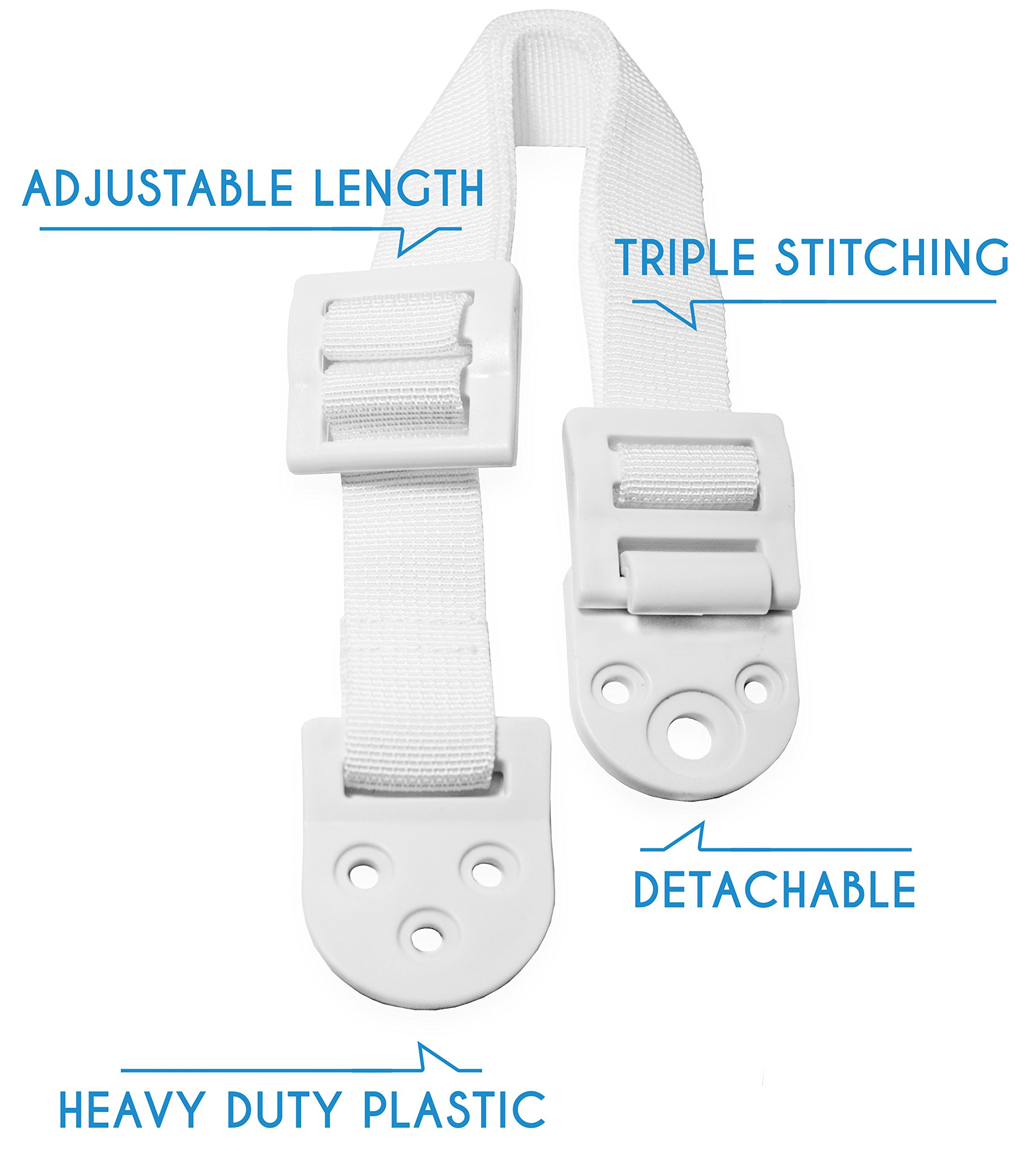 Boxiki Kids Adjustable Anti-Tip Furniture Anchors for Baby Proofing and Dresser Anchoring Kit. 8 PC Wall Anchors and Earthquake Straps. Baby Safety Kit and Home Safety Furniture Straps. (White) by Boxiki Kids (Image #3)