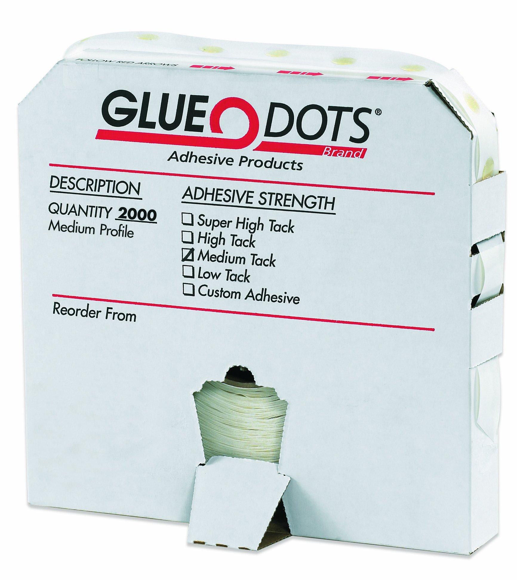 Glue Dots Medium Profile Medium Tack Glue Dot, 1/2'' Diameter x 1/32'' Thick, Case of 2000 (GD114) by Glue Dots