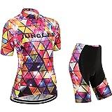 N225 S~5XL,option:bib,3D pad JUNGLEST Cycling jersey Set Women Short sleeve