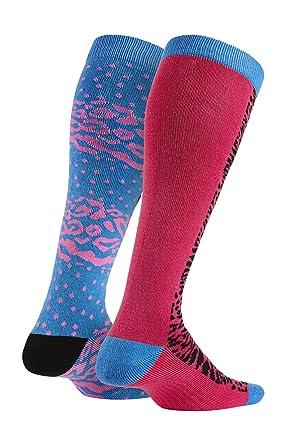 Nike 2P Girls Graphic CTN Knee HI - Calcetines para niña, color rosa/azul