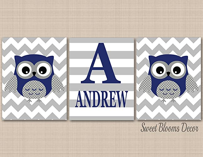 Owl Décor,Owl Nursery Wall Art,Navy Gray Owl Wall Art,Boy Owl