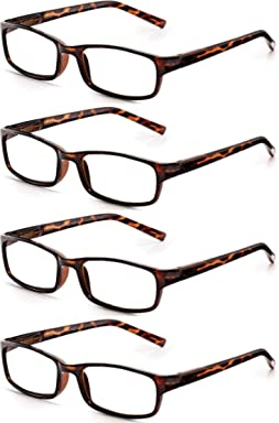 5189ce99171 Read Optics 4 Pack Stylish Lightweight Mens Womens Reading Glasses in Brown  Tortoiseshell Polycarbonate.