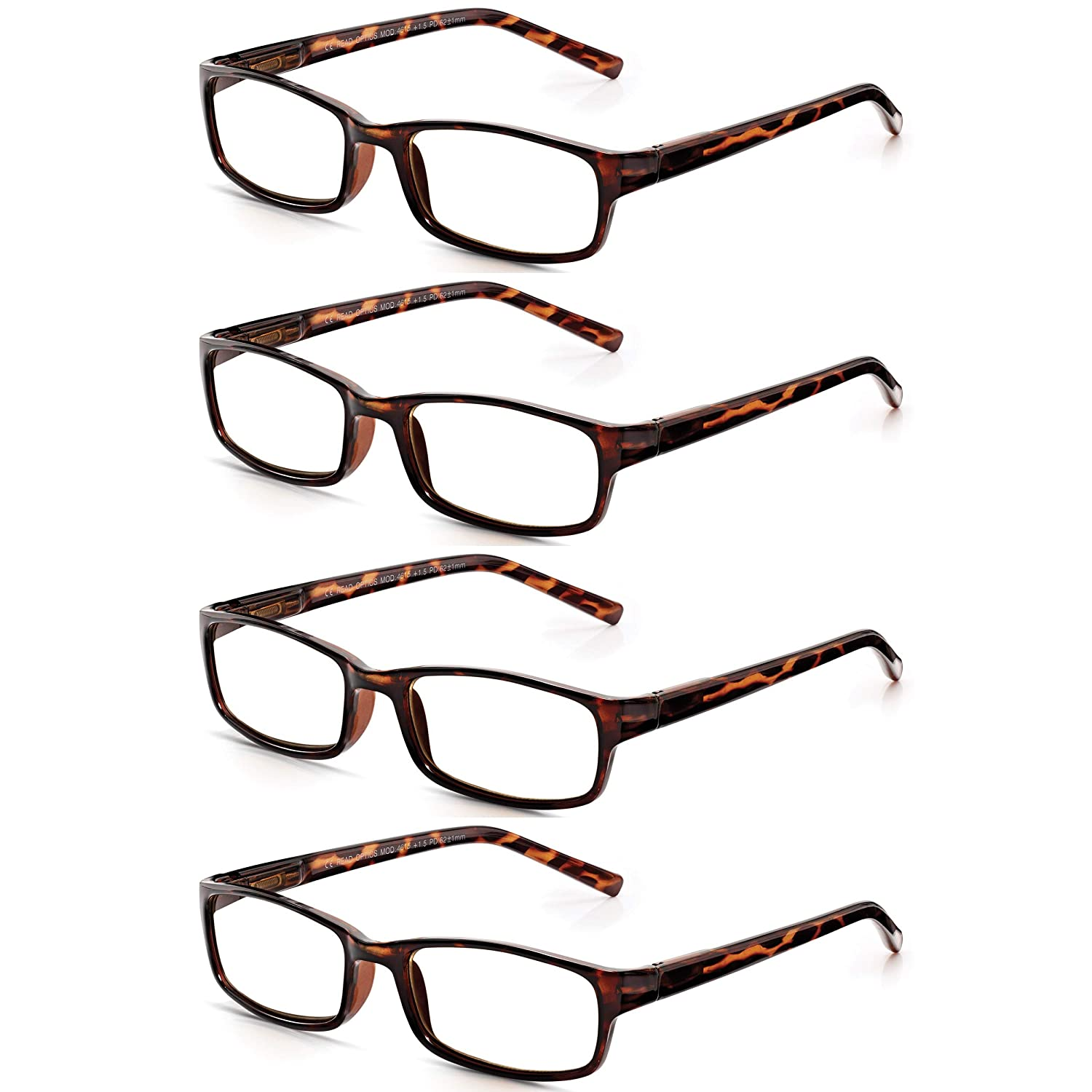 433250b9bb6 Read Optics 4 Pack Stylish Lightweight Mens Womens Reading Glasses in Brown  Tortoiseshell. Non-Prescription Ready Reader Spectacles with True Optical  ...