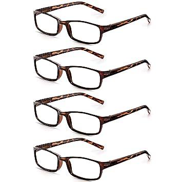 0256ed2a745 Read Optics 4 Pack Stylish Lightweight Mens Womens Reading Glasses in Brown  Tortoiseshell. Non