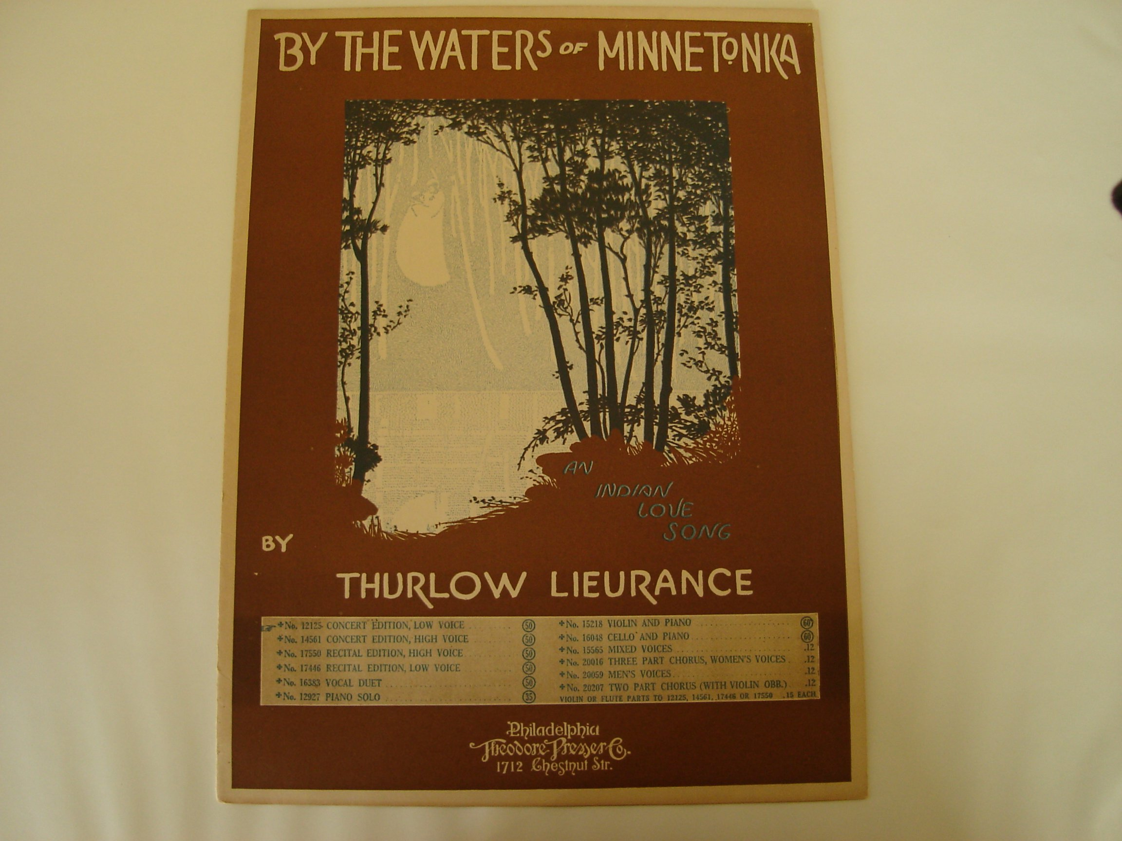 By The Waters Of Minnetonka, an Indian Love Song (Sheet
