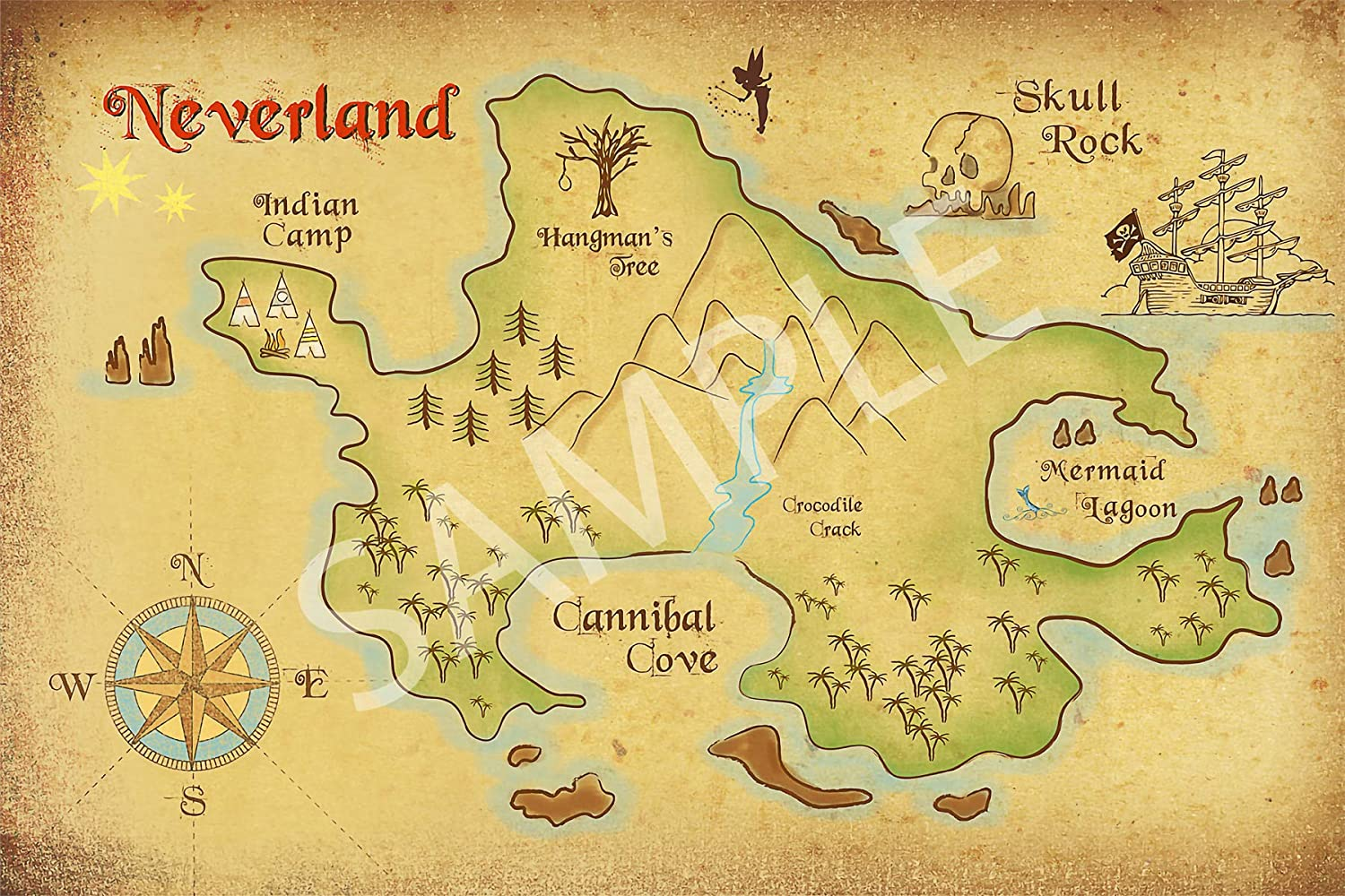 Map Of Neverland Amazon.com: Best Print Store   Disney Inspired, Peter Pan