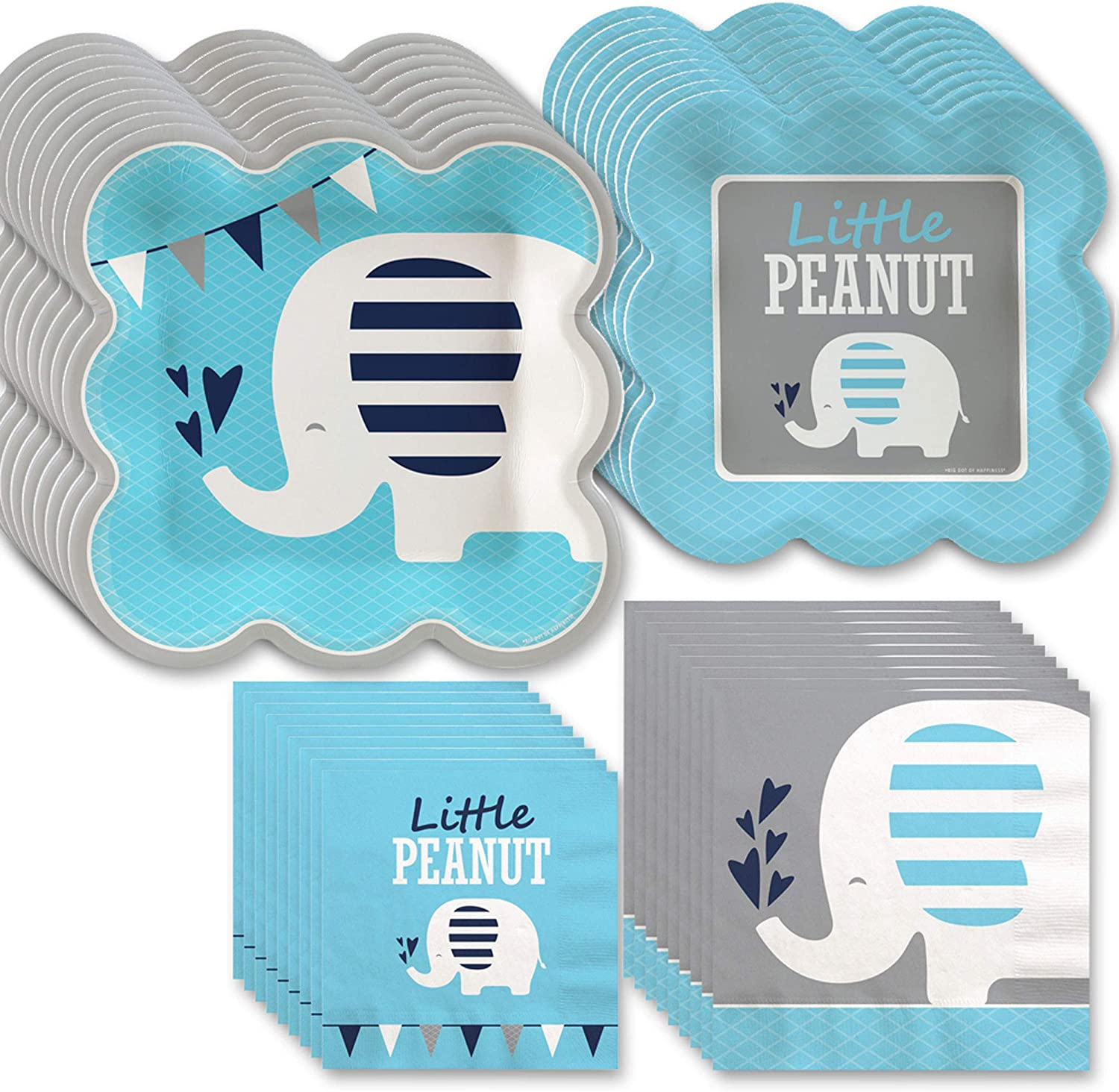 Big Dot of Happiness Blue Elephant - Boy Baby Shower or Birthday Party Tableware Plates and Napkins - Bundle for 32