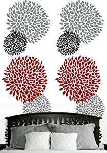 Self Adhesive Wallpaper, Floral Design: Black, Gray, Red & White - Size: 26