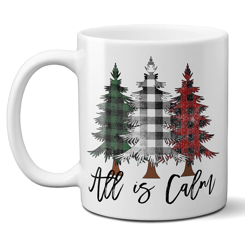 Amazon Com All Is Calm Christmas Coffee Mug With Rustic Buffalo Plaid Christmas Trees Ceramic Cup Holiday Gift Mug 11 Or 15 Ounce Handmade