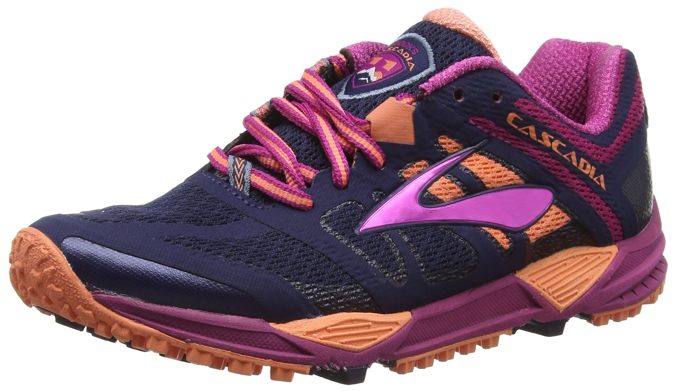 Brooks Cascadia 11 Trail Running Shoe - Womens Peacoat/Baton Rouge/Fusion Coral, 5.5