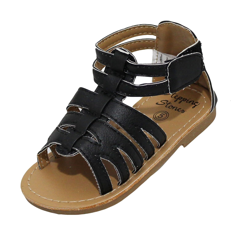 b4f742fd53c7b Amazon.com | Stepping Stones Little Girls Gladiator Black Sandals (Girls  Strappy Sandals) Size 3 Open Toe Sandals | Sandals