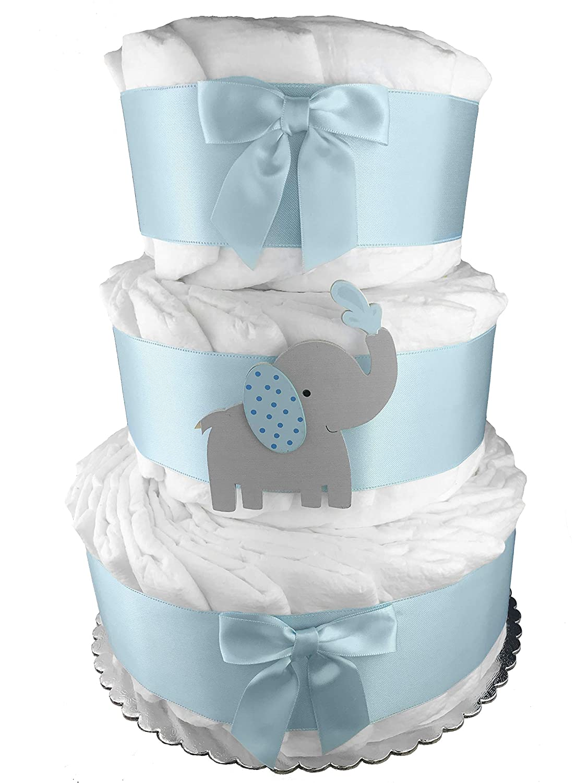 Elephant 3-Tier Diaper Cake - Baby Shower Centerpiece - Blue and Gray Sunshine Gift Baskets