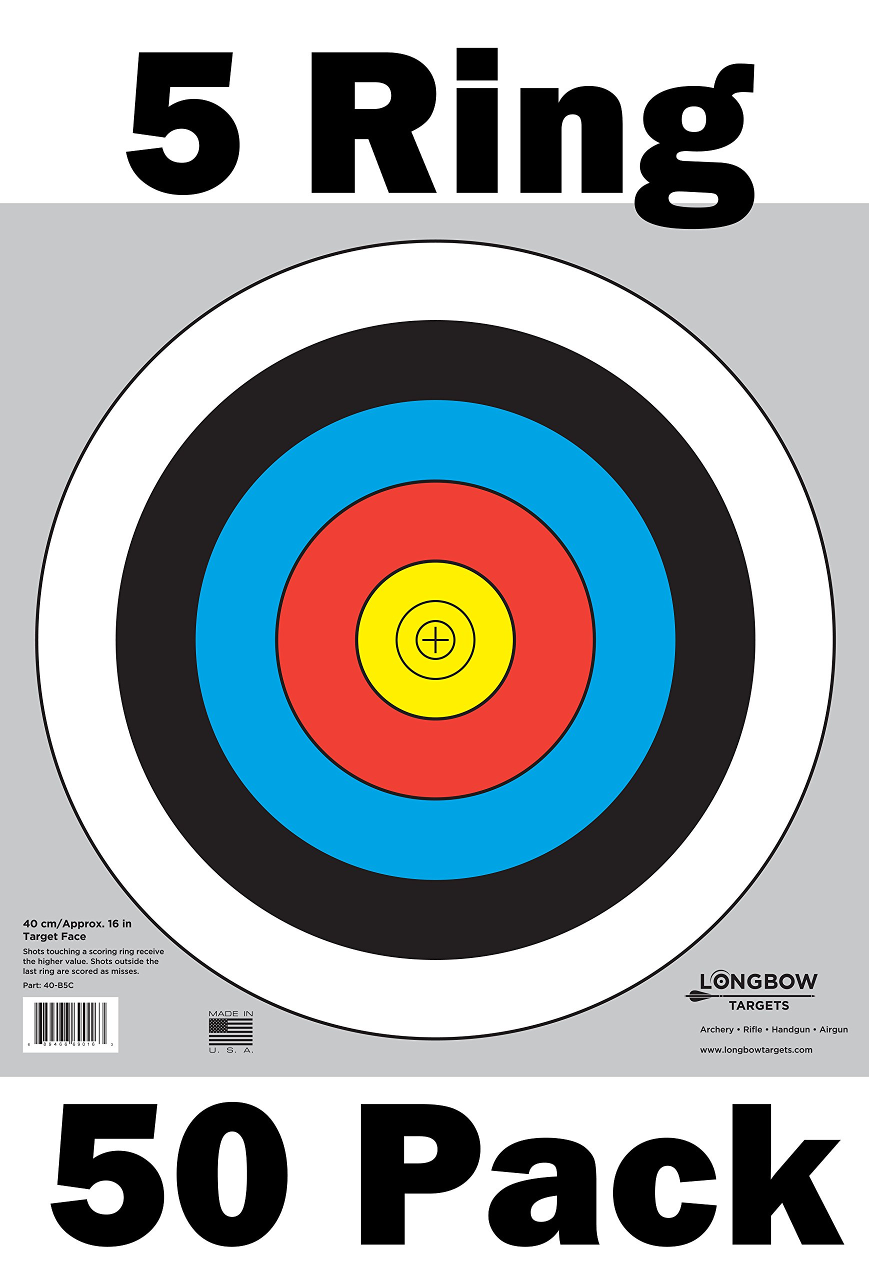 Archery 40cm Targets by Longbow (50 pack, 40cm/approx 16'' (5 Ring) Part# 40-B5C-50