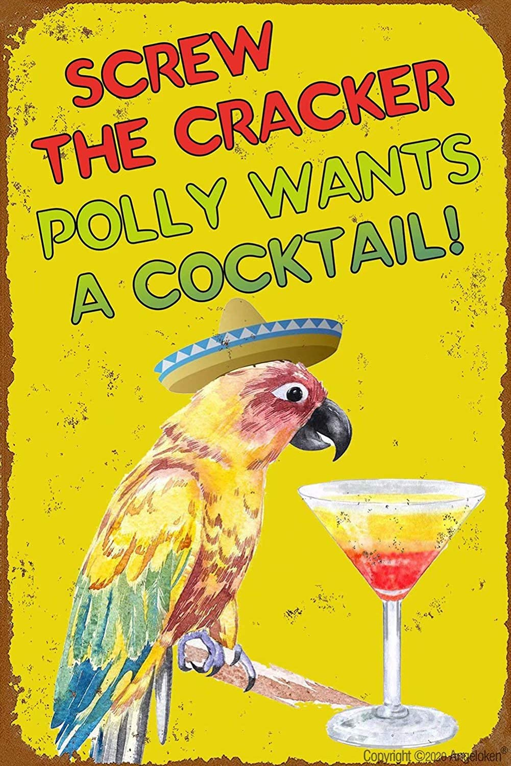 Angeloken Retro Metal Sign Vintage TIN Sign Screw The Cracker Polly Wants a Cocktail Sign for Plaque Poster Cafe Wall Art Sign Gift 8 X 12 INCH