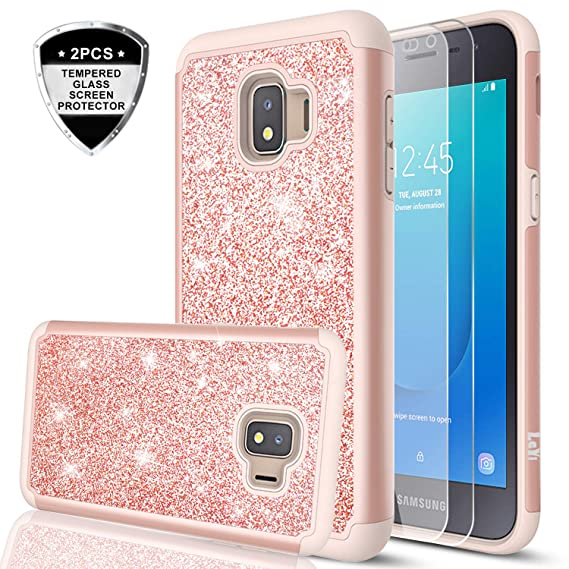 new products 0ba10 b8184 Samsung Galaxy J2 Core Case with Tempered Glass Screen Protector [2 Pack],  LeYi Glitter Bling Girls Women Dual Layer Heavy Duty Protective Phone Case  ...