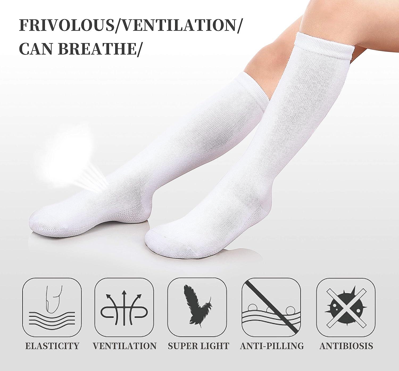 9-13 Year Old, 3 Pack White PUREMART Girls School Uniform Cotton Knee-High Sock 3-13 Y Pack of 3