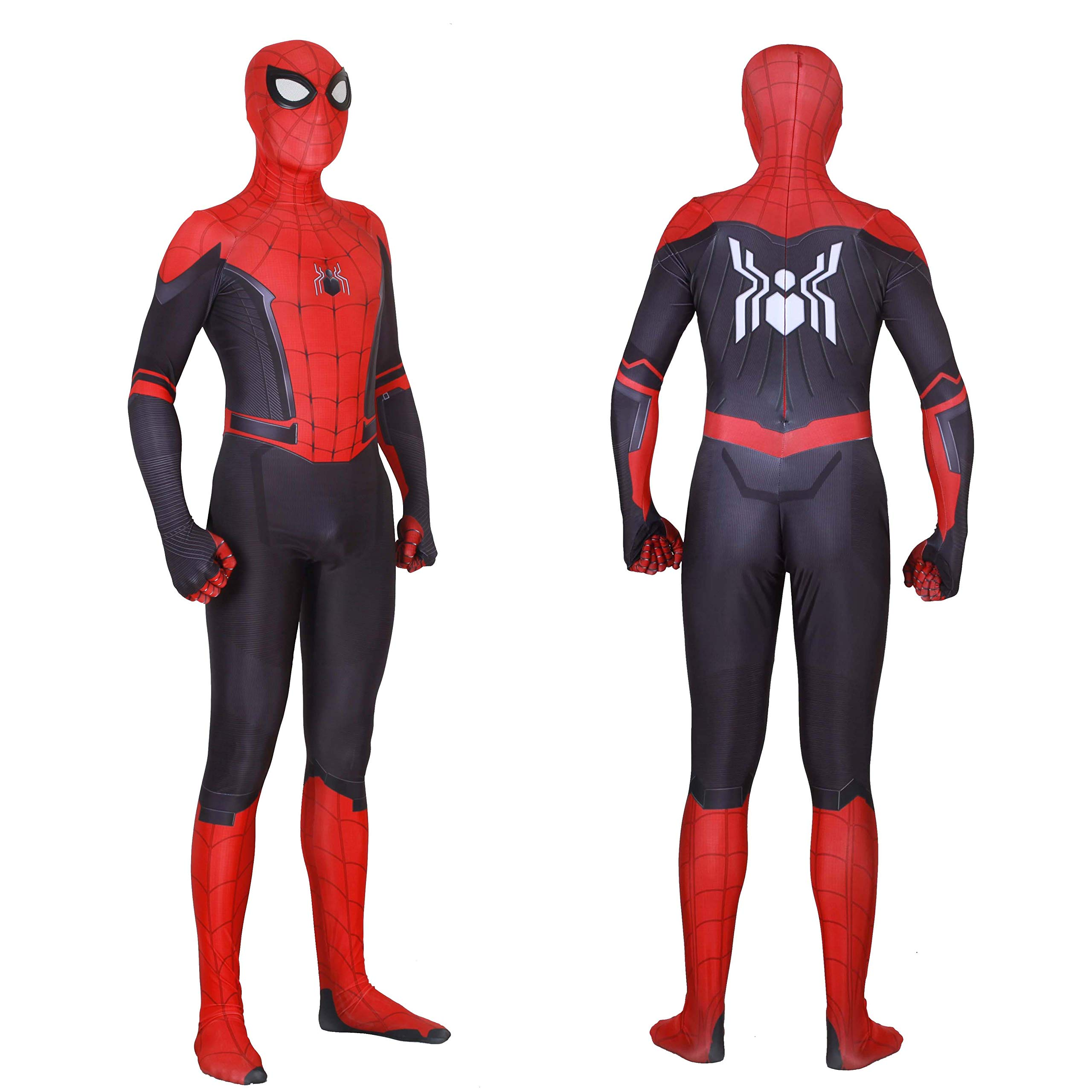 MYanimec Unisex Lycra Spandex Zentai Halloween Cosplay Costumes Adult/Kids 3D Style (Adults-L Red and Black