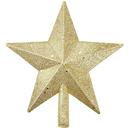 Bememo 8 Inches Gold Glitter Christmas Tree Topper Star Treetop For Christmas Tree Decoration