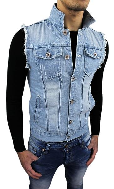 9eecb50a4f Giubbotto Smanicato di Jeans uomo Gilet Slim Fit casual aderente (S ...