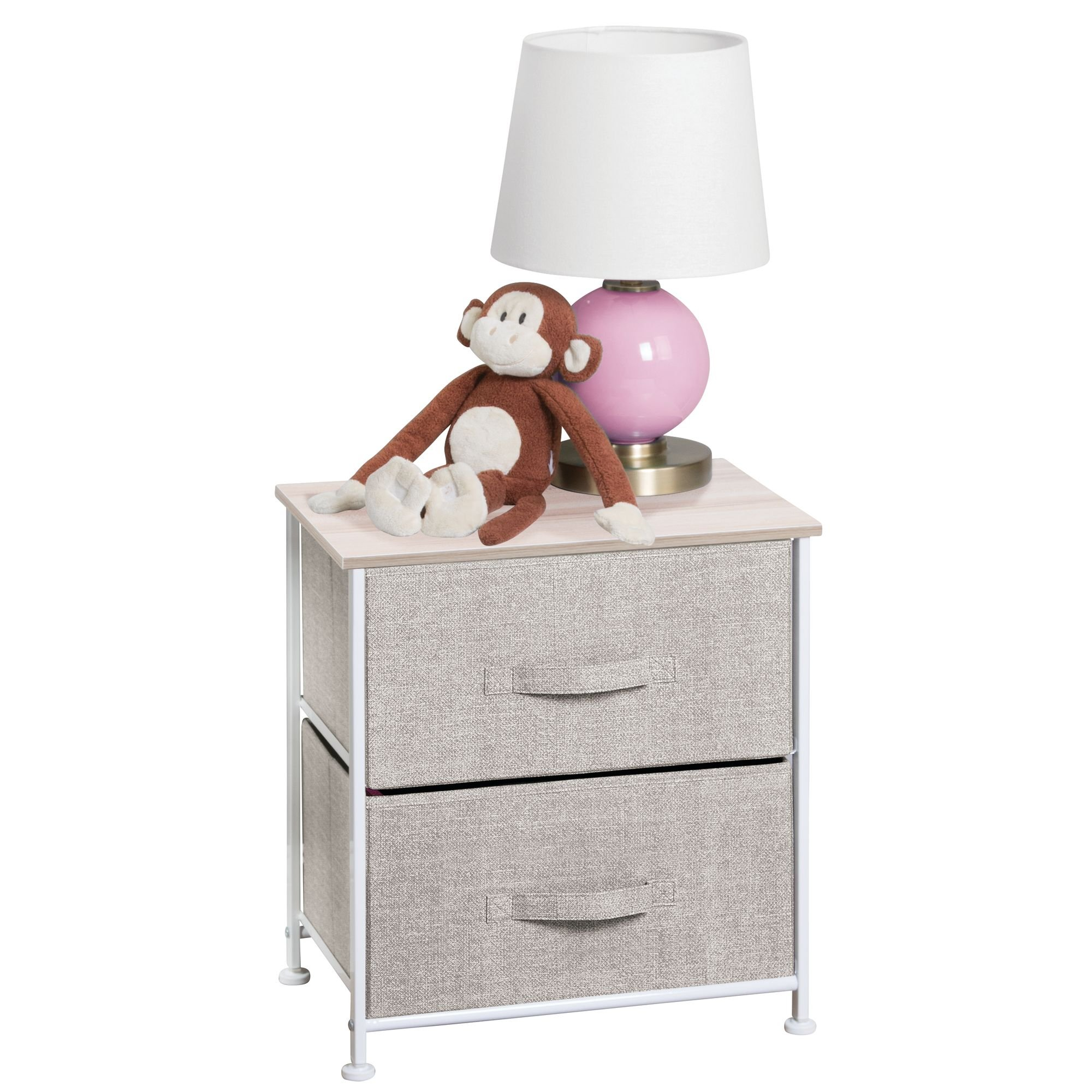 mDesign Fabric Baby 2-Drawer Dresser and Storage Organizer Unit for Nursery, Bedroom, Play Room - Linen
