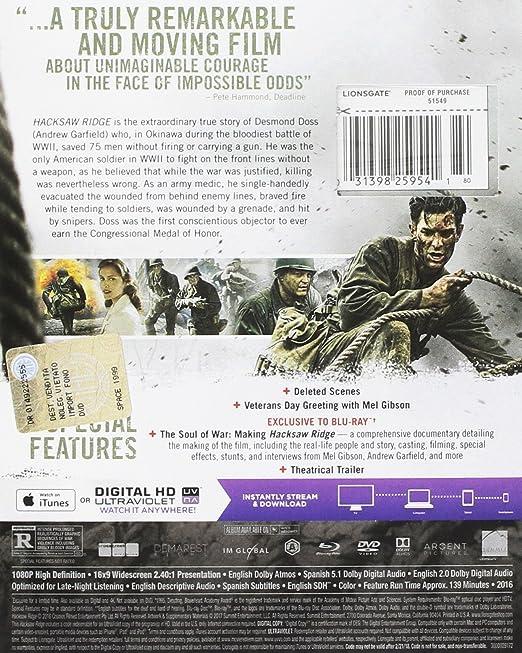 Amazon com: Hacksaw Ridge [Blu-ray]: Andrew Garfield, Sam