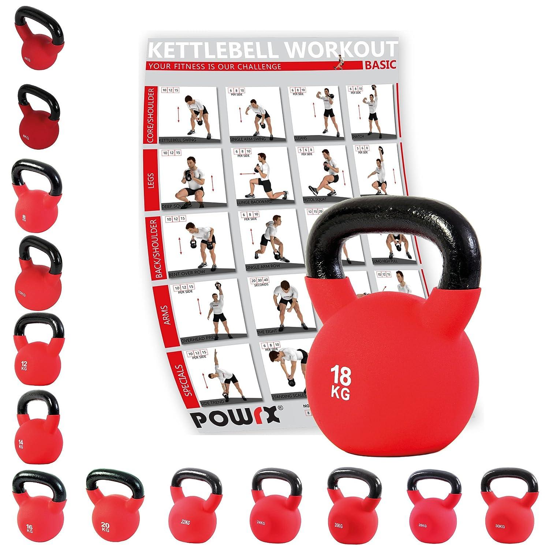 Kettlebell hierro fundido con revestimiento de neopreno 4 kg, 6 kg, 8 kg, 10 kg, 12 kg, 14 kg, 16 kg, 18 kg, 20 kg - Ideal para la práctica del ...