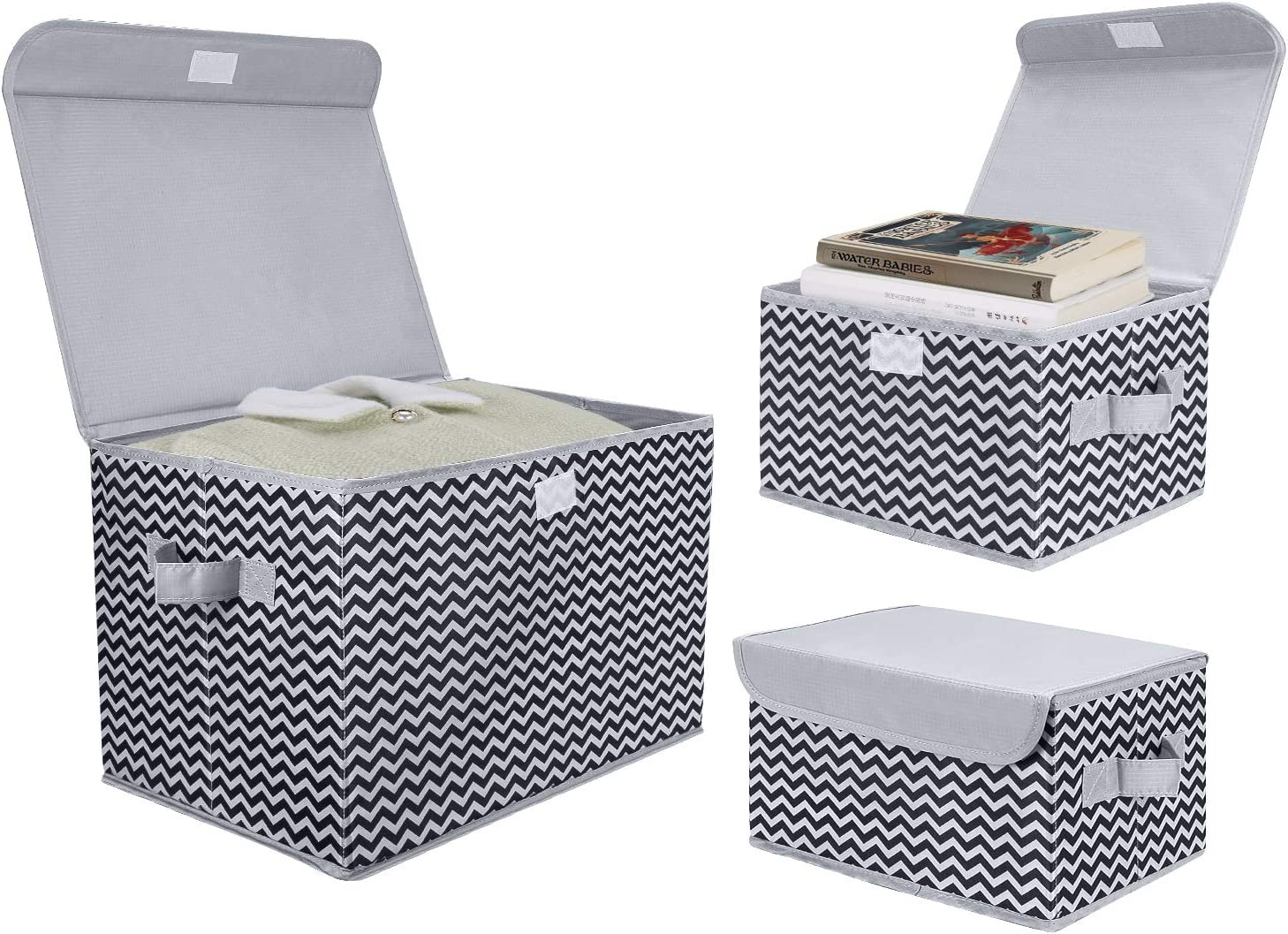 DIMJ 3Pcs Fabric Storage Bins & Storage Box with Flip-top Lid, Collapsible Large Basket Boxes for Books, Clothes, Toys Cubes, Home Bedroom Closet Office Organiser (Light Grey Ripple)