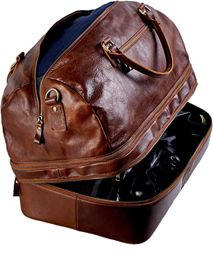 Genuine Leather Duffle Bag, Large Expandable Double Capacity Carry On Luggage Travel Bag With Hard Shoe Compartment Shoes Not Be Squeezed