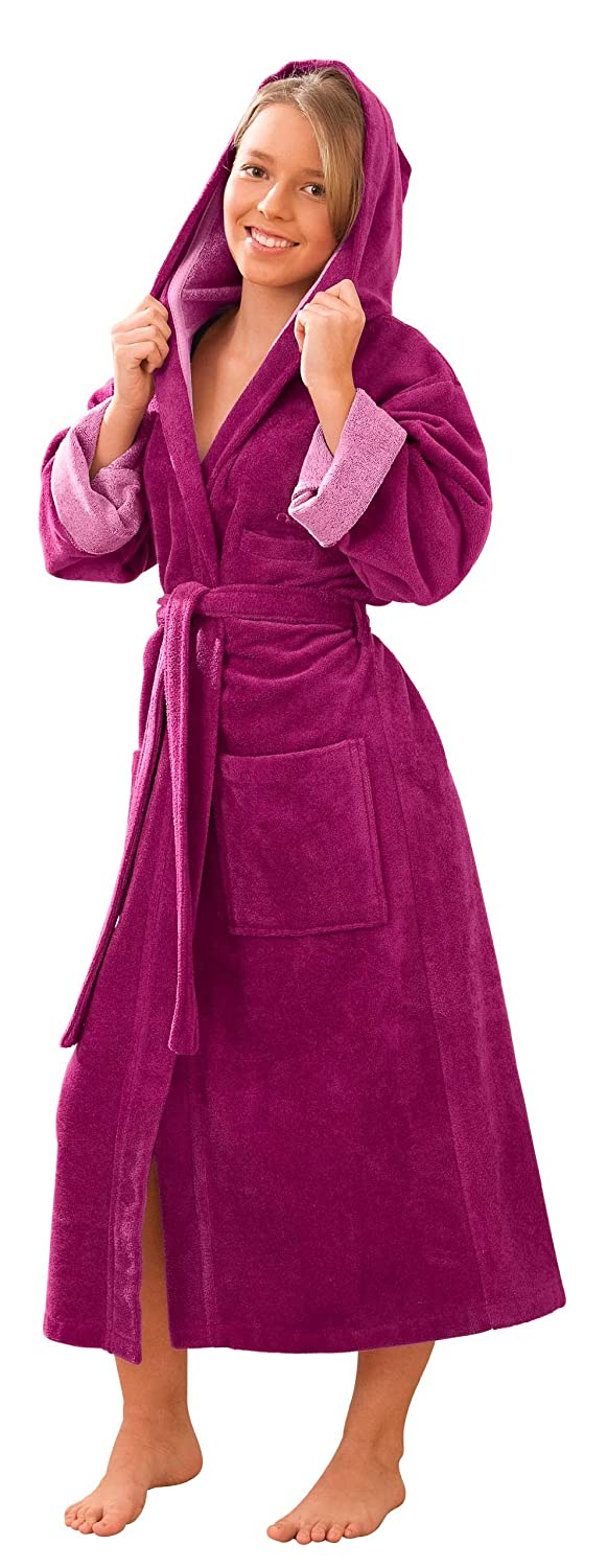 Morgenstern Luxury Children and Teenager Dressing Gown with hood, long, purple (fuchsia) 5540-11