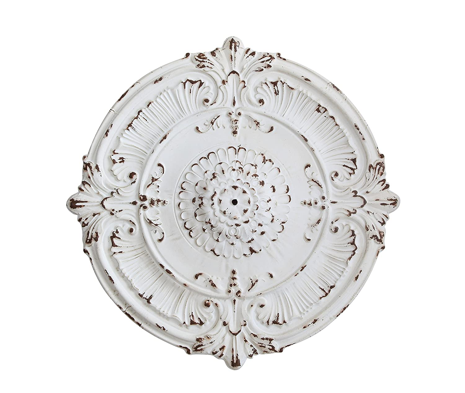 Amazon.com: Creative Co-op Distressed White Metal Ceiling Medallion ...