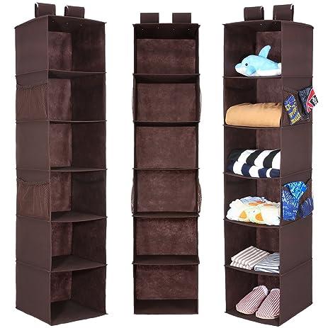 Hanging Closet Organizer With 4 Side Pockets, Magicfly 6 Shelf Collapsible Closet  Hanging Shelf