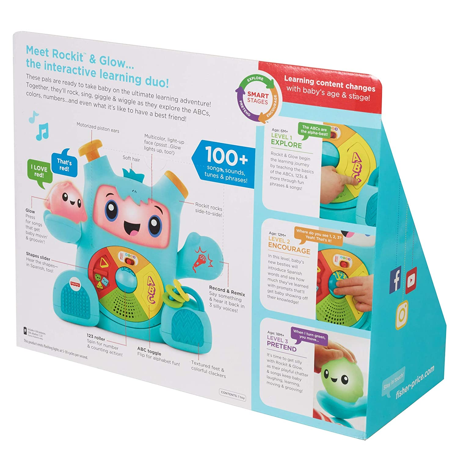 Baby Learning Robot Toy 6 Months Numbers Colours and Shapes Teaching First Words Letters Fisher-Price FXD02 Dance and Groove Rockit