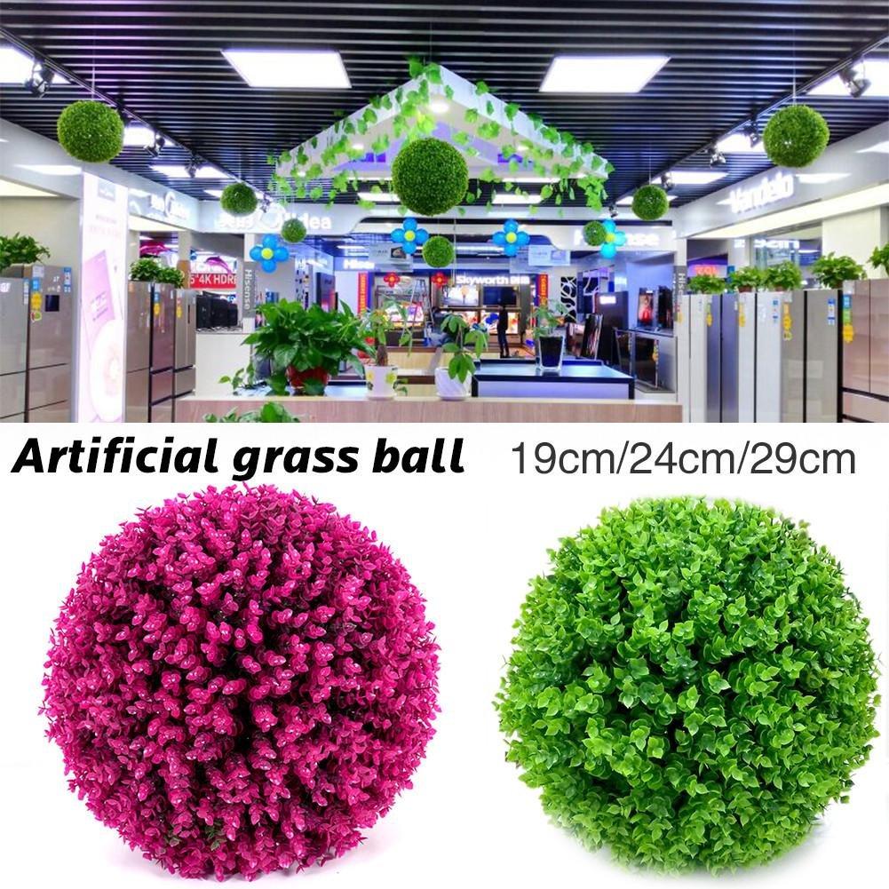 simulato decorativo palla erba artificiale in plastica di alta qualità, diametro 19/24/29cm Ball bar centro commerciale nozze vacanza decorazione plastica fiore può essere posizionato o appeso Sue Supply