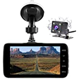 """Nesolo Full HD 1080P Car Dash Cam 170° Wide Angle 4"""" IPS Screen Dashboard Camera DVR Video Recorder Dual Lens Front+Rear with HDR Night Vision,Loop Recording,Parking Mode,G-Sensor"""