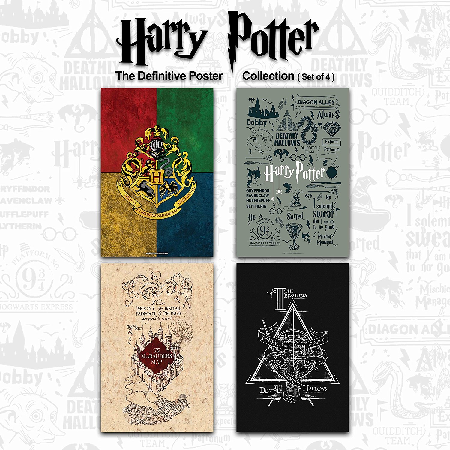 Mc Sid Razz Official Harry Potter Gift Set Birthday Gift Valentine Day Gift Anniversary Gift Combo Pack Of 4 Poster Without Frame Infographic Grey House