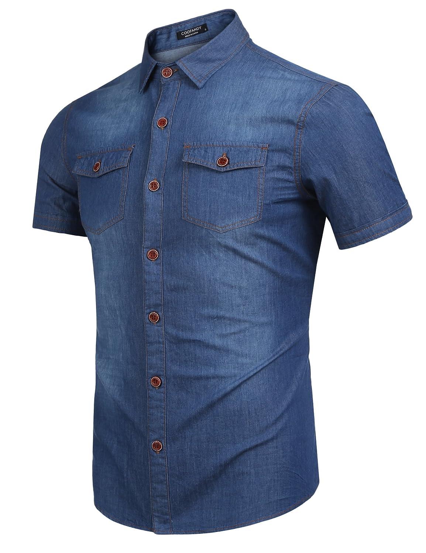 COOFANDY Mens Summer Casual Jeans Dress Shirt Button Down Short Sleeve Fashion Denim Work Shirt