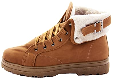d08855653f169 Womens Combat Style Fur Lined Winter Army Worker Military Ankle Boots Flat  Punk Goth Shoes Size
