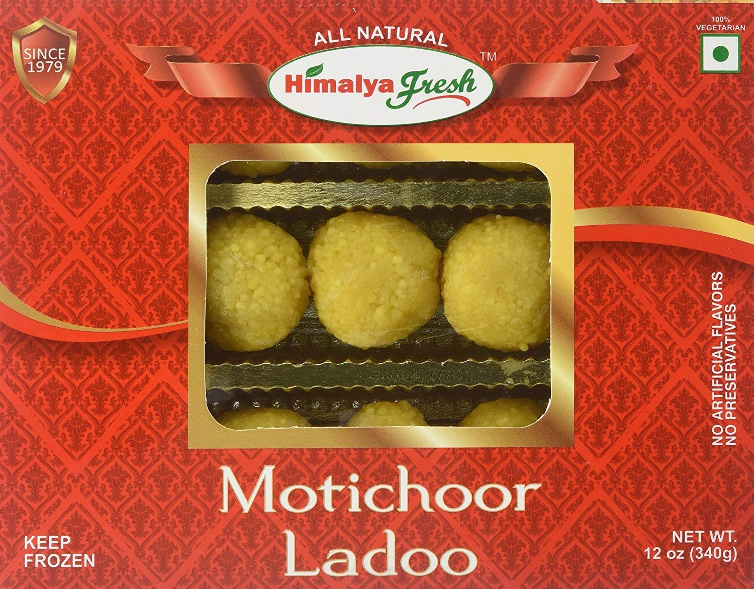HIMALYA FRESH Motichoor Ladoo 12oz - Premium Authentic Indian Food & Sweets Made With pure simple ingredients Gram flour, Sugar & Vegetable Oil - No Fillers Or Preservatives (2 Boxes)