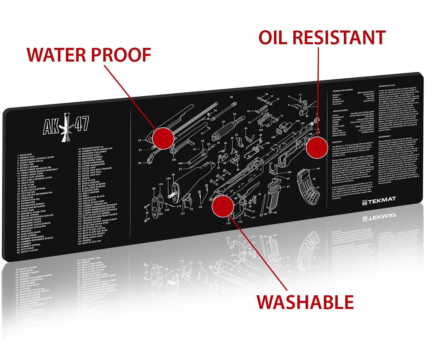 Tekmat Ak 47 Cleaning Mat 12 X 36 Thick Durable Todd Engineering Schematics Waterproof Long Gun With Parts Diagram And Instructions Armorers Bench