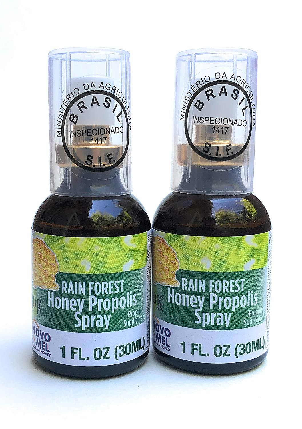 Brazilian Green Bee Propolis and Rain Forest Honey Oral Spray, 2 bottle pack